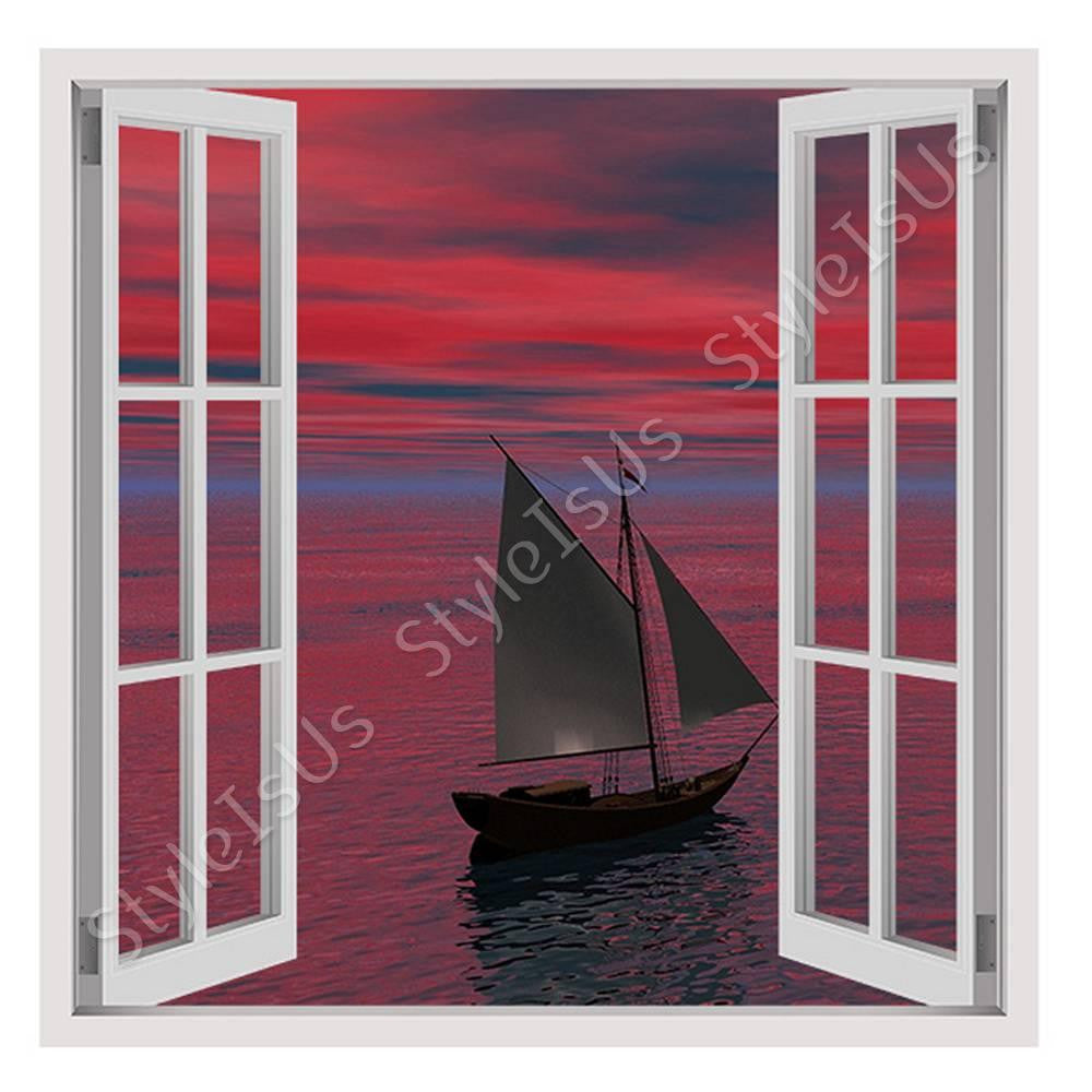 Fake 3D Window Ship Sails in oceans sunset | Canvas, Posters, Prints & Stickers - StyleIsUS.com