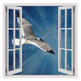 Fake 3D Window Seagull flying in blue sky | Canvas, Posters, Prints & Stickers - StyleIsUS.com