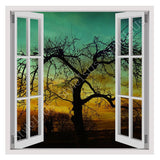 Fake 3D Window Lonely tree in a sunset | Canvas, Posters, Prints & Stickers - StyleIsUS.com