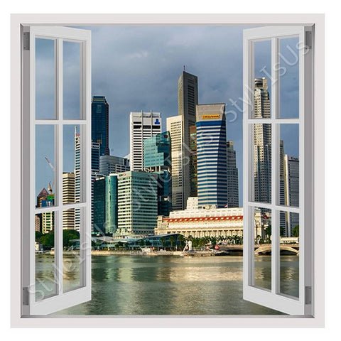 Fake 3D Window Singapores Skyscrapers | Canvas, Posters, Prints & Stickers - StyleIsUS.com
