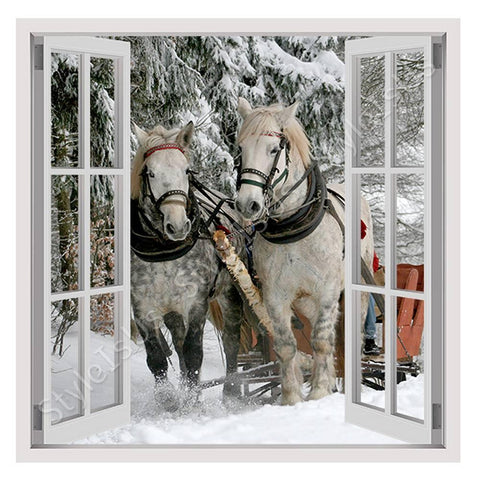 Fake 3D Window Horses in the forest | Canvas, Posters, Prints & Stickers - StyleIsUS.com