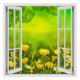 Fake 3D Window Spring field of flowers | Canvas, Posters, Prints & Stickers - StyleIsUS.com