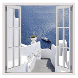 Fake 3D Window Boat at the sea Santorini | Canvas, Posters, Prints & Stickers - StyleIsUS.com