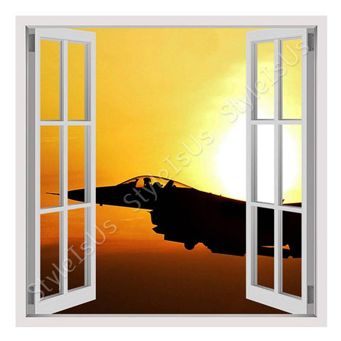 Fake 3D Window Jet in the Sunrise | Canvas, Posters, Prints & Stickers - StyleIsUS.com