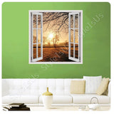 Fake 3D Window Sunrise in the icy forest | Canvas, Posters, Prints & Stickers - StyleIsUS.com