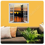 Fake 3D Window Bridge on top of a river | Canvas, Posters, Prints & Stickers - StyleIsUS.com