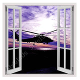 Fake 3D Window Purple Sunset helicopter | Canvas, Posters, Prints & Stickers - StyleIsUS.com