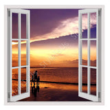 Fake 3D Window Sunset on the beach | Canvas, Posters, Prints & Stickers - StyleIsUS.com
