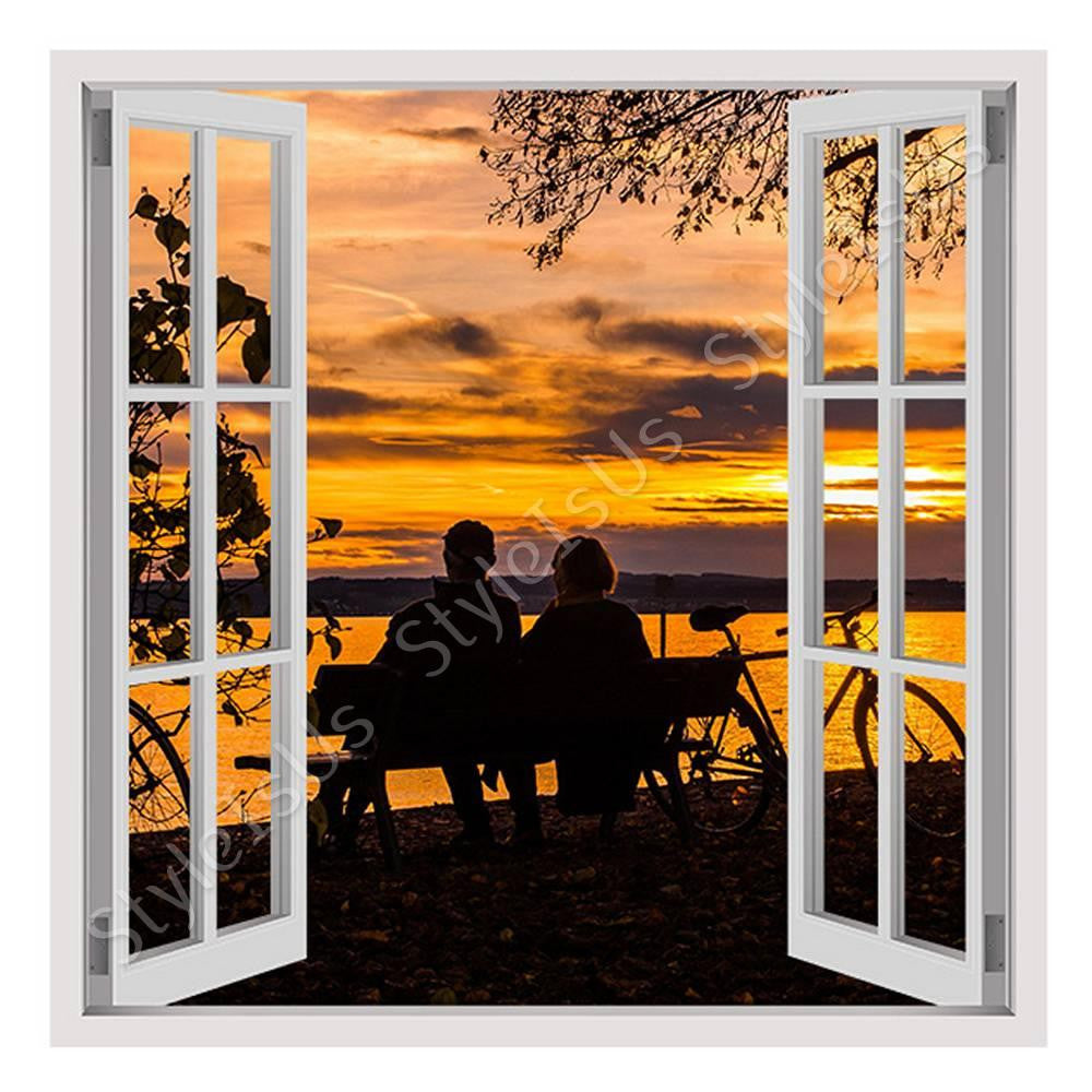 Fake 3D Window Sunset in the lake | Canvas, Posters, Prints & Stickers - StyleIsUS.com