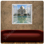 Fake 3D Window Taj Mahal Temple | Canvas, Posters, Prints & Stickers - StyleIsUS.com