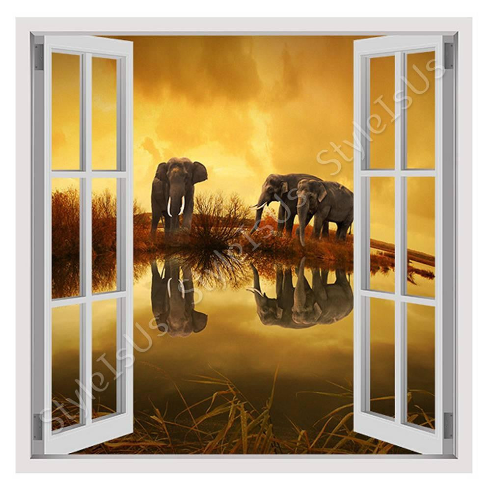 Fake 3D Window Elephants in nature | Canvas, Posters, Prints & Stickers - StyleIsUS.com