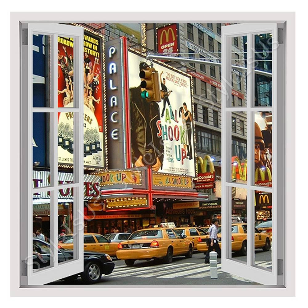 Fake 3D Window Times square urban life | Canvas, Posters, Prints & Stickers - StyleIsUS.com