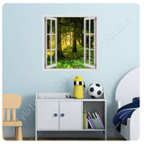 Fake 3D Window Sun light between trees | Canvas, Posters, Prints & Stickers - StyleIsUS.com