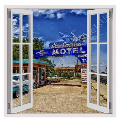 Fake 3D Window Vintage Motel New Mexico | Canvas, Posters, Prints & Stickers - StyleIsUS.com