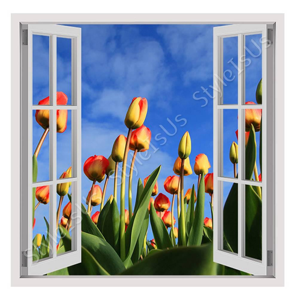 Fake 3D Window Tulips field | Canvas, Posters, Prints & Stickers - StyleIsUS.com