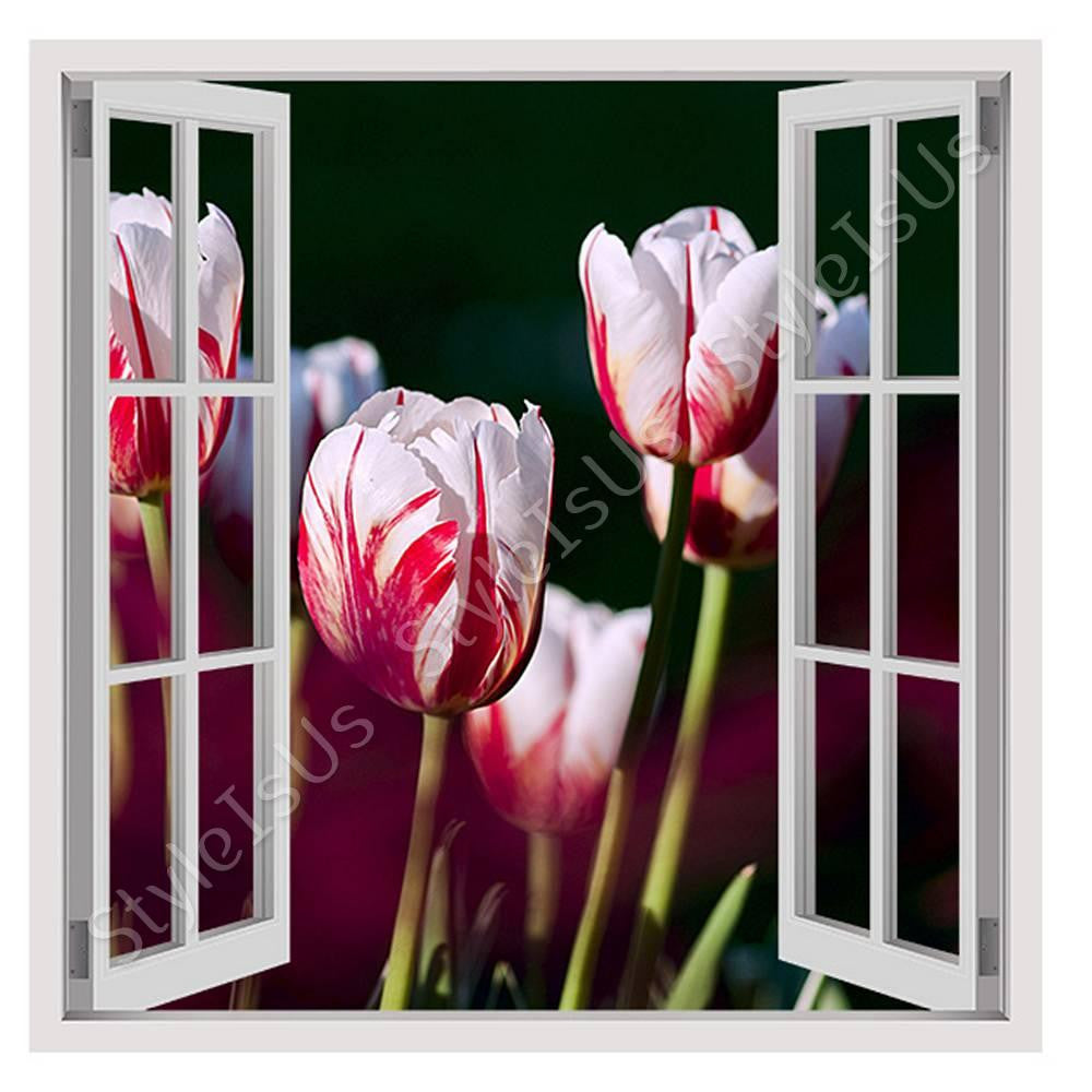 Fake 3D Window Garden Of Tulips In Nature | Canvas, Posters, Prints U0026  Stickers