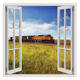 Fake 3D Window Scenic Train On Railroad | Canvas, Posters, Prints & Stickers - StyleIsUS.com