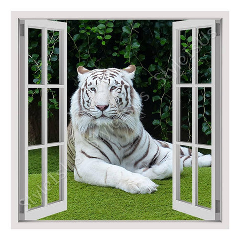 Fake 3D Window White Tiger Resting | Canvas, Posters, Prints & Stickers - StyleIsUS.com