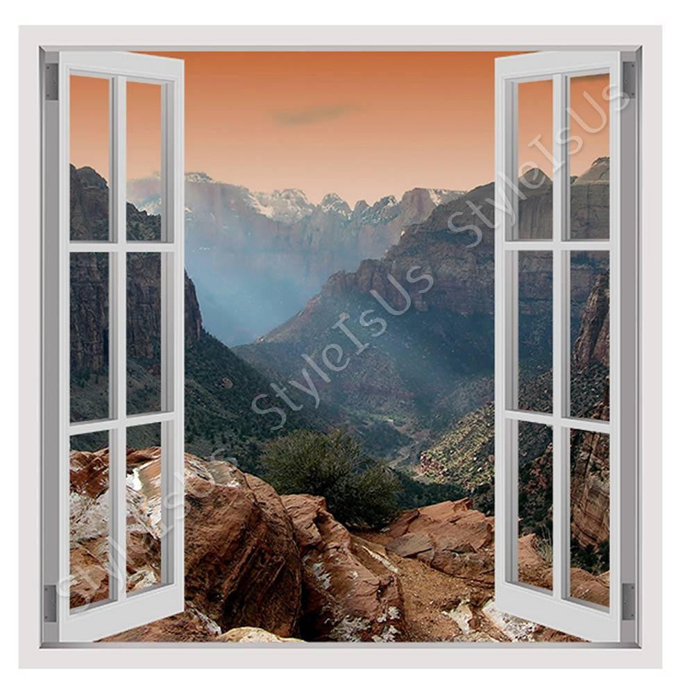 Fake 3D Window Scenic Sunset In Mountains | Canvas, Posters, Prints & Stickers - StyleIsUS.com