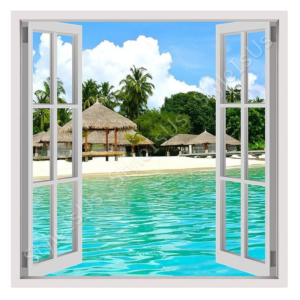 Fake 3D Window House on the beach | Canvas, Posters, Prints & Stickers - StyleIsUS.com