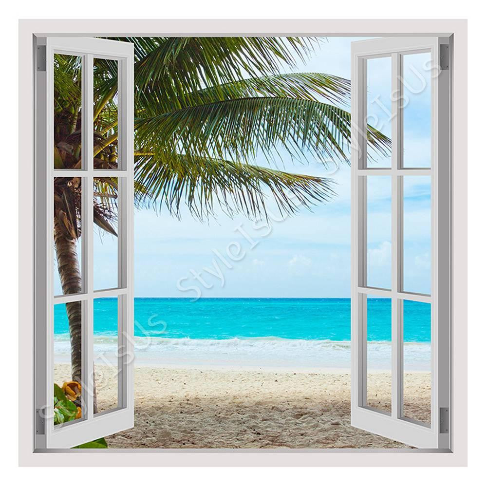 Fake 3D Window Palm on the beach | Canvas, Posters, Prints & Stickers - StyleIsUS.com