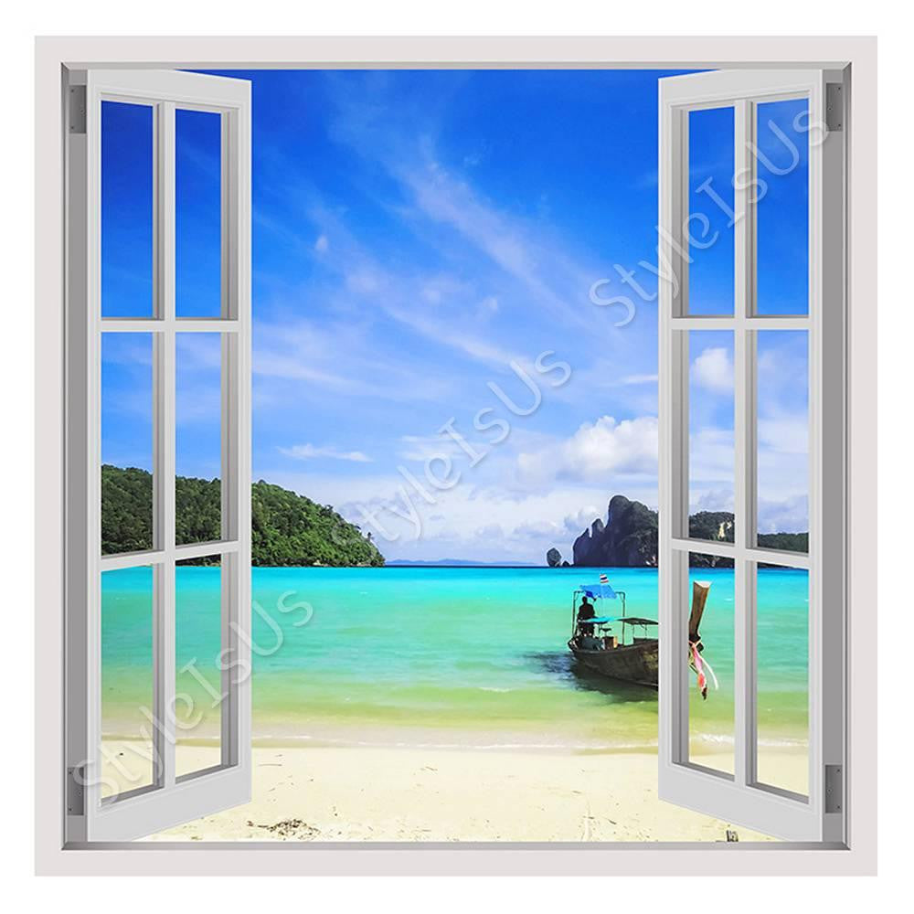 Fake 3D Window Caribbean beach | Canvas, Posters, Prints & Stickers - StyleIsUS.com