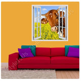 Fake 3D Window A cow on the field | Canvas, Posters, Prints & Stickers - StyleIsUS.com