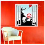 Fake 3D Window Banksy collage soldiers girl red baloon hope | Canvas, Posters, Prints & Stickers - StyleIsUS.com