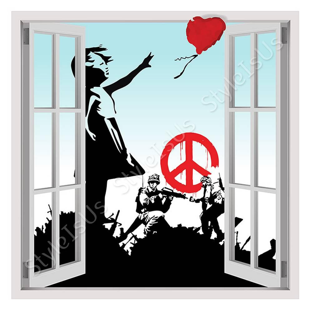 Fake 3D Window Banksy collage soldiers girl red balloon hope | Canvas, Posters, Prints & Stickers - StyleIsUS.com