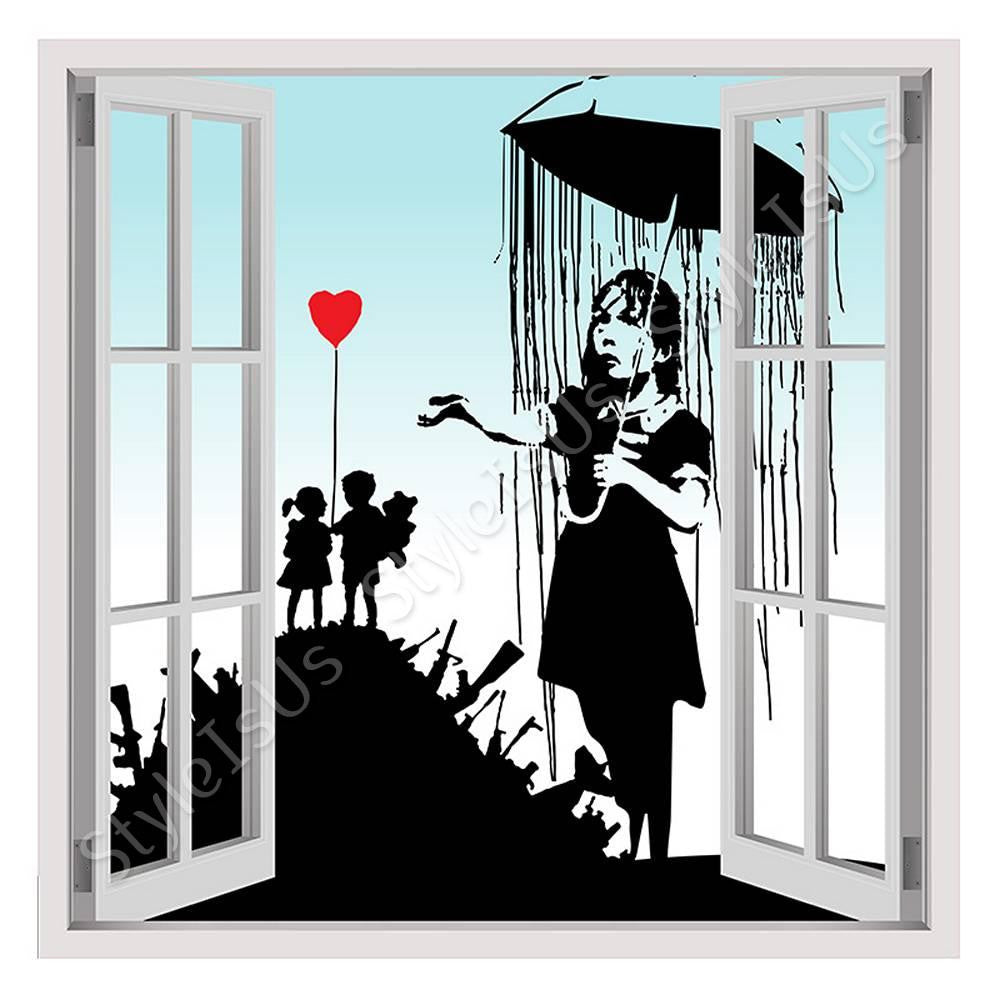 Fake 3D Window Banksy collage umbrella girl soldiers | Canvas, Posters, Prints & Stickers - StyleIsUS.com
