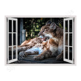 Fake 3D Window Cougar | Canvas, Posters, Prints & Stickers - StyleIsUS.com