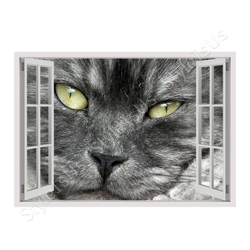 Fake 3D Window Furry Cat | Canvas, Posters, Prints & Stickers - StyleIsUS.com