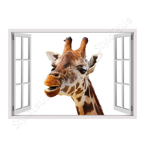 Fake 3D Window Giraffe | Canvas, Posters, Prints & Stickers - StyleIsUS.com