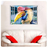 Fake 3D Window Hornbill Bird | Canvas, Posters, Prints & Stickers - StyleIsUS.com
