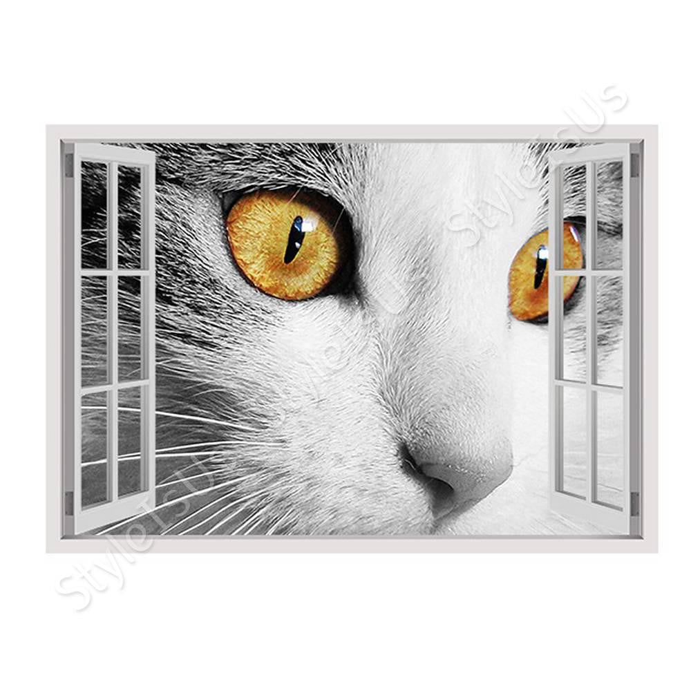 Fake 3D Window Orange eyes | Canvas, Posters, Prints & Stickers - StyleIsUS.com