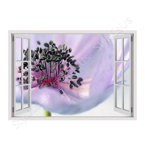 Fake 3D Window Anemone Blume | Canvas, Posters, Prints & Stickers - StyleIsUS.com