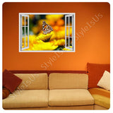 Fake 3D Window Butterfly on a Flower | Canvas, Posters, Prints & Stickers - StyleIsUS.com