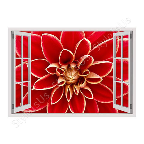 Fake 3D Window Dahlia in the Autumn | Canvas, Posters, Prints & Stickers - StyleIsUS.com