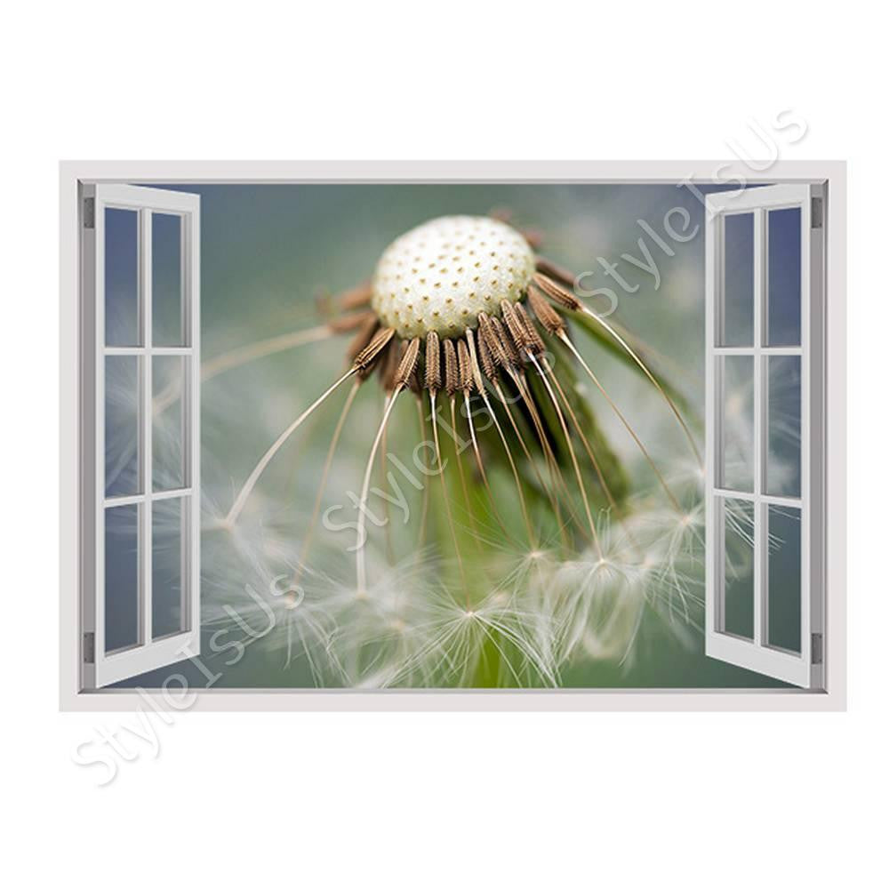 Fake 3D Window Dandelion in the Spring | Canvas, Posters, Prints & Stickers - StyleIsUS.com