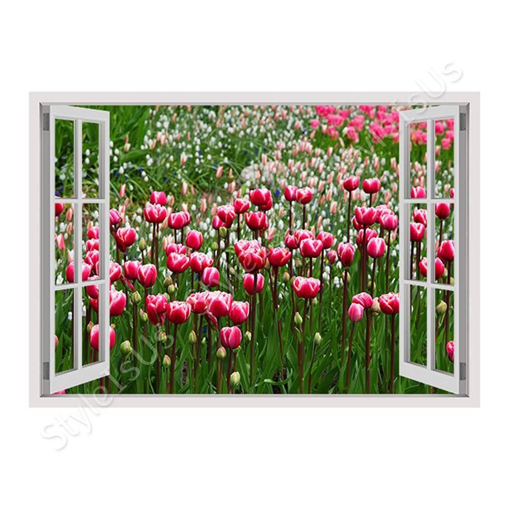 Fake 3D Window Tulips | Canvas, Posters, Prints & Stickers - StyleIsUS.com