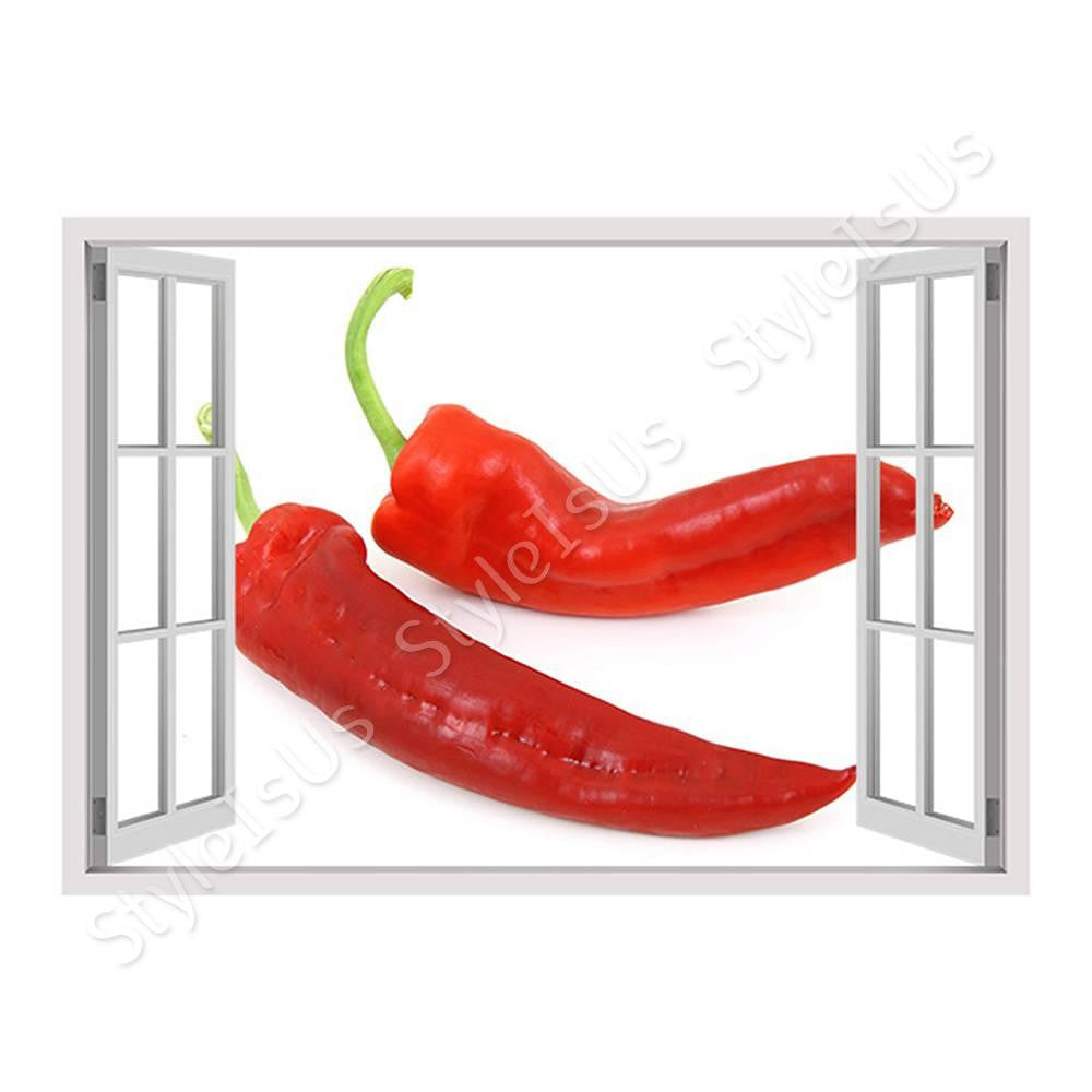 Fake 3D Window Chili | Canvas, Posters, Prints & Stickers - StyleIsUS.com