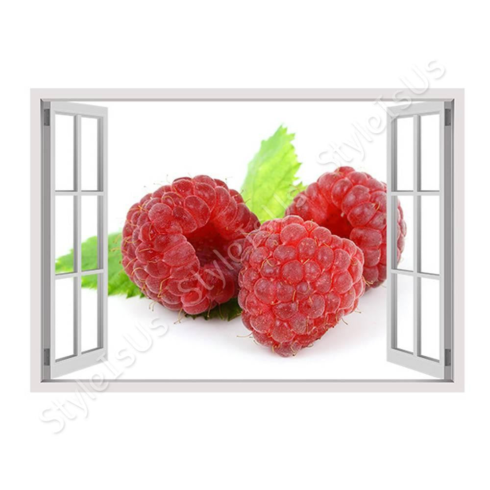 Fake 3D Window Red Berry | Canvas, Posters, Prints & Stickers - StyleIsUS.com