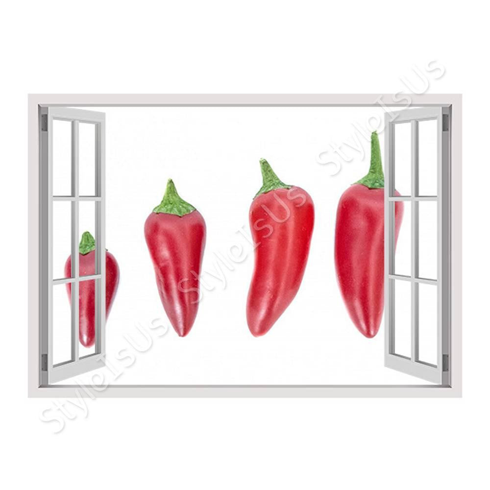 Fake 3D Window Spicy Chili | Canvas, Posters, Prints & Stickers - StyleIsUS.com