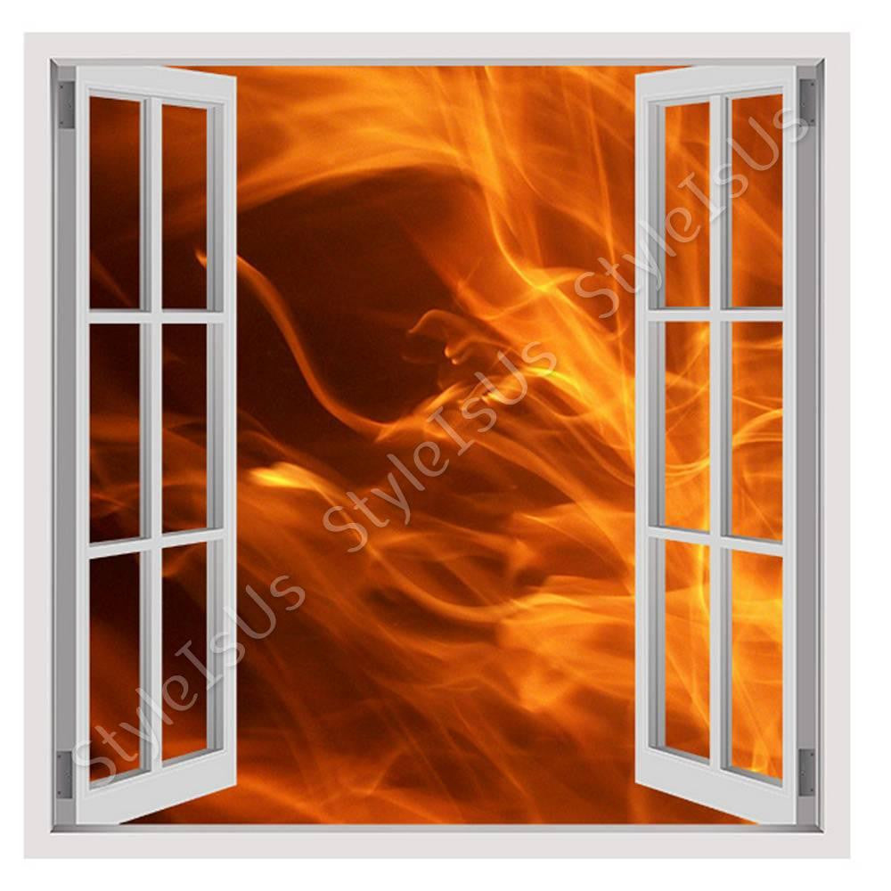 Fake 3D Window Fire | Canvas, Posters, Prints & Stickers - StyleIsUS.com