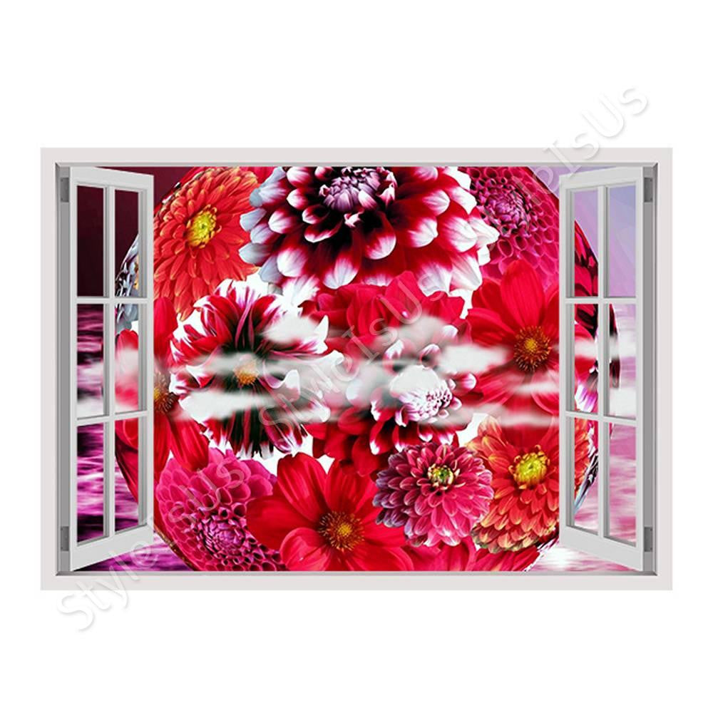 Fake 3D Window Graphic Dahlia | Canvas, Posters, Prints & Stickers - StyleIsUS.com
