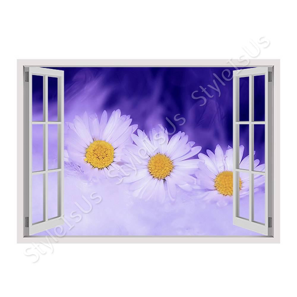 Fake 3D Window Graphic Daisy | Canvas, Posters, Prints & Stickers - StyleIsUS.com