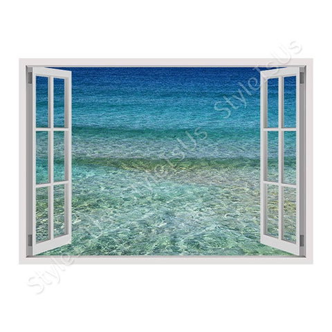 Fake 3D Window Aqua | Canvas, Posters, Prints & Stickers - StyleIsUS.com