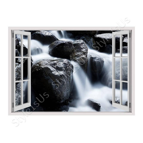 Fake 3D Window Beautful Creek | Canvas, Posters, Prints & Stickers - StyleIsUS.com