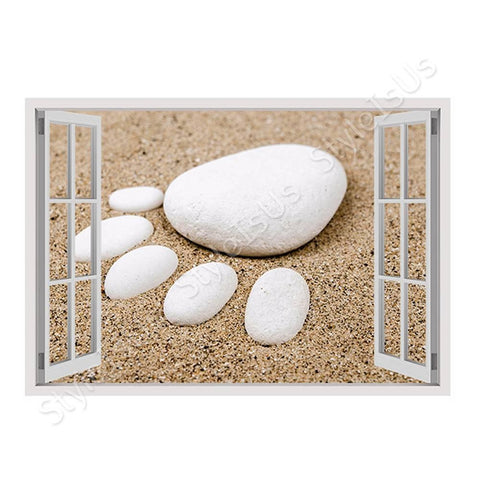Fake 3D Window Foot on the sand | Canvas, Posters, Prints & Stickers - StyleIsUS.com