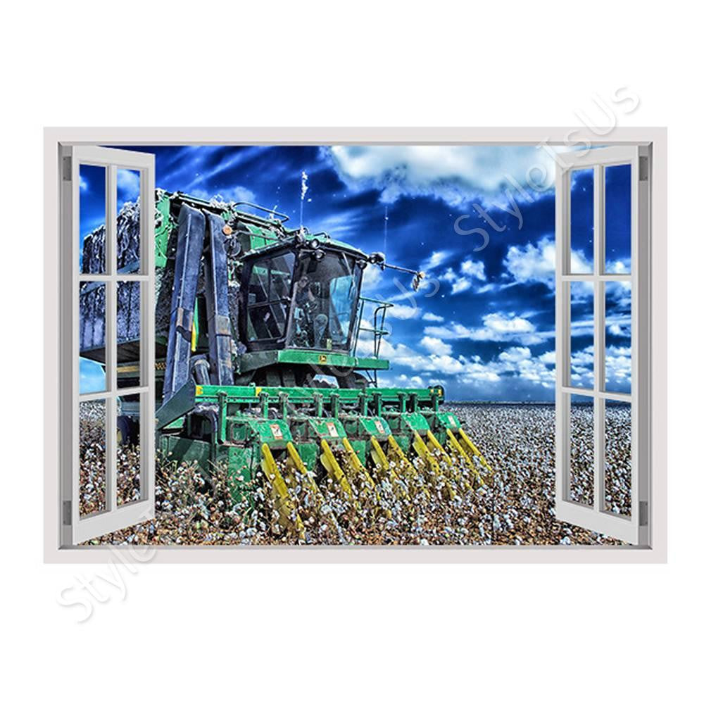 Fake 3D Window Harvesting Cotton | Canvas, Posters, Prints & Stickers - StyleIsUS.com
